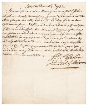 1782 Rev. War Document, Loan Office Exchange 1780