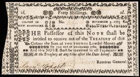 Colonial Currency Nh. Nov. 3, 1775 40s No Cancel