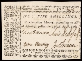 Colonial Currency, Nc. 1761. 5s, Pcgs Ch. New-63