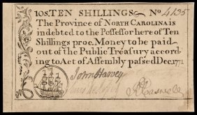 Colonial Currency, Nc. Dec. 1771 10s Abt. Unc-50