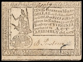 Colonial Currency Va. October 7, 1776 One Dollar