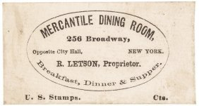 Postage Envelope. Mercantile Dining Room Ny R-10