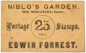 Postage Envelope. Niblo's Garden Edwin Forrest