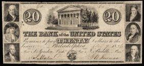 Obsolete, Phila. Bank Of The U.s. $20 Pcgs F-15