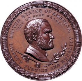 1871 Ulysses Grant Indian Peace Medal, Ngc Ms-66