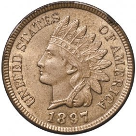 1897 Indian Head Cent Gem Reddish-brown Unc