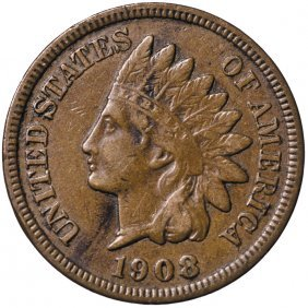 1908-s Indian Head Cent Key Date Choice Vf To Ef