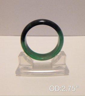 Chinese Green & Black Jade Bangle