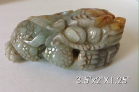 Chinese Carved Jade Toad