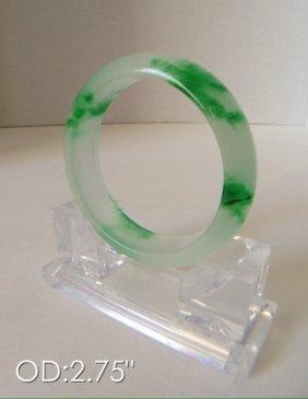 Chinese Green & White Jade Bangle