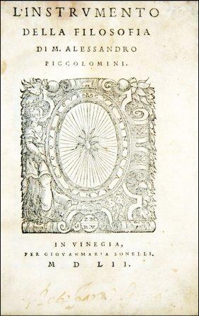 [philosophy] Piccolomini, L'instrumento Della Filosofia