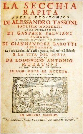 [poems, Modena] Tassoni, La Secchia Rapita, 1744