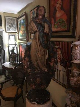 Amazing 1700s Religious Wood Sculpture