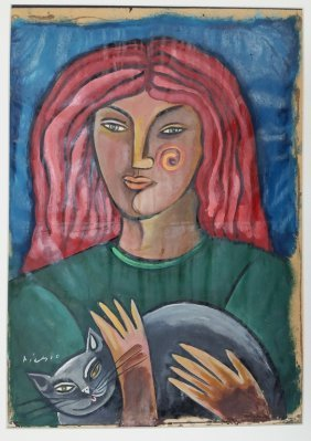 Picasso Oil On Paper On Board Painting