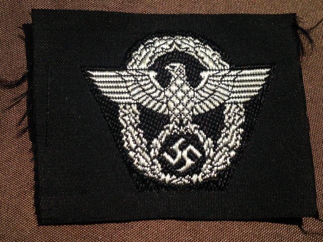 Nazi WW2 SS German Police Officer Cloth Insignia : Lot 61