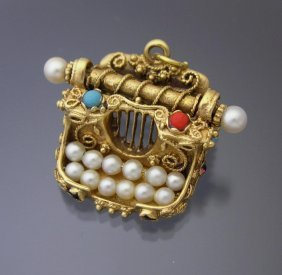 Whimsical 14k Typewriter Charm Accented With Gems