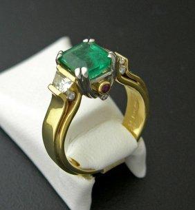 Exhibited Emerald / Diamond Arch Ring, 14k / Platinum