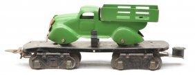 Marx 8-Wheel 2562 Flatcar W/Green Stake Truck
