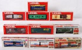10 Lionel Freight Cars 9750, 9339, 9301, Etc