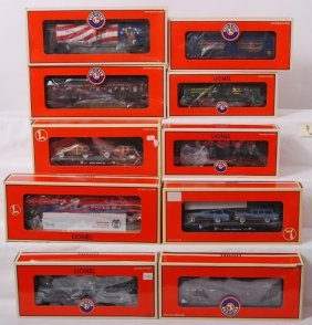 10 Lionel Freight Cars 19685, 36001, 52280, Etc