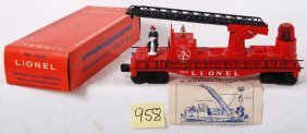Lionel 3512 Operating Fireman And Ladder Car In OB
