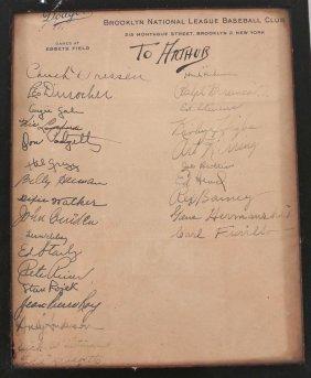 Autographs Of 1946 Brooklyn Dodgers Baseball Team