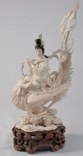 Chinese Carved Ivory Woman On Phoenix