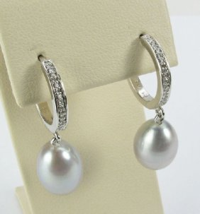 Silver Pearl And Diamond Earrings