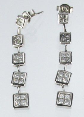 Drop Diamond Earrings 14K White Gold