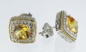 Citrine And Diamond Earrings 14K Two Tone