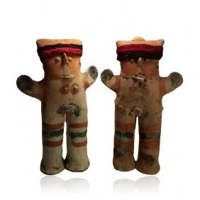 Pre-columbian Chancay Pair Of Standing Huacho Figures