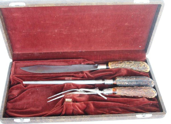 362 Winchester 3 Pc Carving Set With Stag Horn Lot 362
