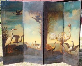 4 FOLD PAINTED CANVAS SCREEN WITH
