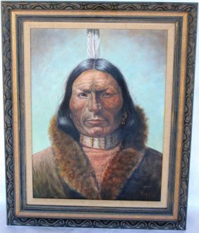 OIL CANVAS, DEPICTING NATIVE AMERICAN WITH