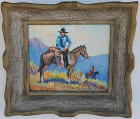 FRAMED OIL ON CANVAS, WESTERN SCENE WITH