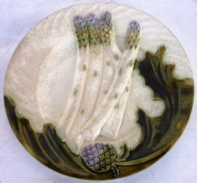 19TH C. MAJOLICA ASPARAGUS TRAY WITH