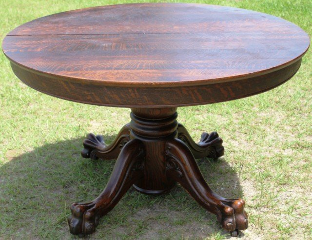 Victorian round oak claw foot dining table lot