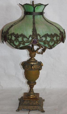 Ornate Slag Glass Table Lamp With