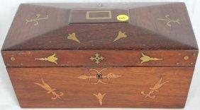 19th C. Brass Inlaid Mahogany Tea Caddy, With