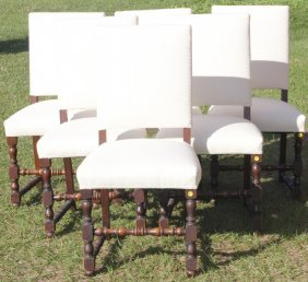 Set Of 6 Jacobean Style Dining Chairs,