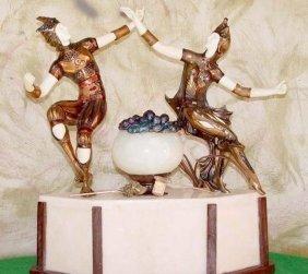Jesters - Bronze & Ox Bone Sculpture By Peyre-lamp