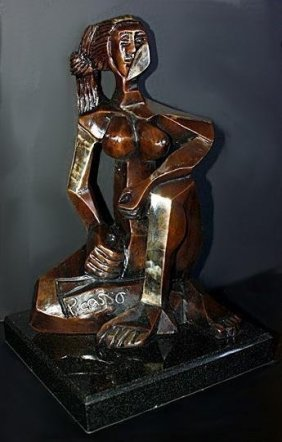 Wonderful Picasso Bronze Sculpture - Seated Woman /299