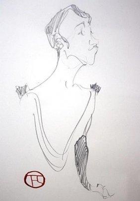 Toulouse Lautrec Original Pencil On Paper -lady