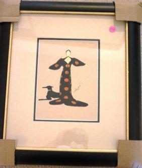 Wonderful Original Erte Gouache (the Orient) With Dog