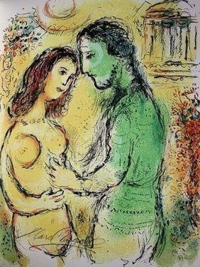 Marc Chagall Signed Lithograph From The Odyssey Suite