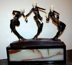 Three Dancers - Bronze & Ox Bone Sculpture By Phillipe