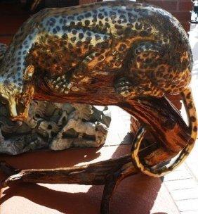 Fantastic,huge Artwork Bronze Leopard & Branch By Bayre