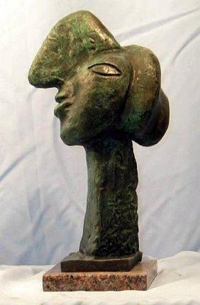 "Rare Classic P Picasso Signed Bronze, "" Woman Smiling"""
