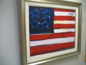 Exquisite Attributed Peter Max Oil On Canvas -us Flag