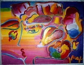 Signed Peter Max Embellished Giclee On Paper Board